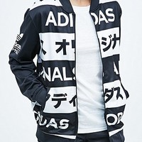 Adidas Typo Tracksuit Top in Black and White - Urban Outfitters
