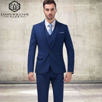 (jacket+Pants+vest+tie) Custom Made Navy Blue Fathers Suit 2017