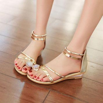 ONETOW 2017 Summer Sandals Women Bohemia Rhinestone Wedge Shoes Roman Style Gold Gladiator Sa