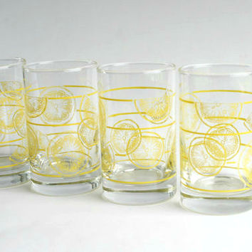 Vintage Lemon Glasses, Lemon Juice Glasses, Lemonaid Glasses, Small Glasses, Vintage Drinkware
