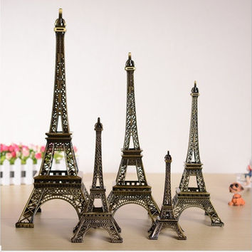 Fashion Retro Bronze Tone Paris Effiel Tower Figures Statues Model Home Car Decor #R0681 [8045601479]