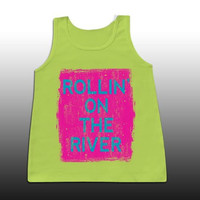 Sassy Frass Rollin On The River Girlie Confort Color Bright Tank Top