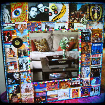 retro decor -classic rock decoupage wall mirror - 1960s album cover - joni mitchell - neil young -  bob dylan - velvet underground