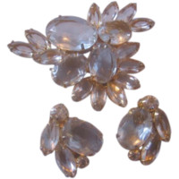 Vintage Juliana Gold tone Clear Crystal Pin-Brooch and Earrings Parure