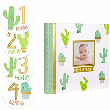 Pearhead Cactus Baby Memory Book with Included Baby Belly Stickers
