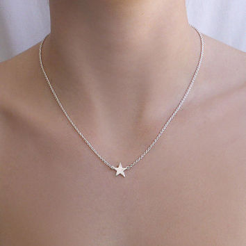 Star Necklace, Personalized, Emma watson inspired, Initial Necklace , Sterling Silver, Gift for her, Tiny Silver Star Necklace, Gold star