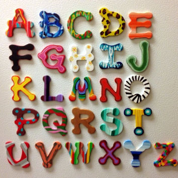 Handpainted Alphabet Magnets set  by PreciousBeast on Etsy