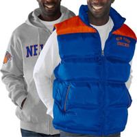 New York Knicks Astroturf Hoodie & Vest Combo - Ash/Royal Blue