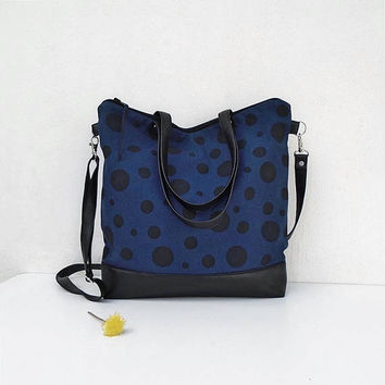 POINT tote bag, large blue handbag, canvas crossbody bag, denim shoulder bag, canvas and leather bag, casual bag, everyday bag, dotted bag