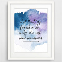 Printable Nursery Art Print, 'Let her sleep' Nursery Wall Art, Kids Room Wall Art, Watercolor Art Girl Nursery Wall Decor Instant Download