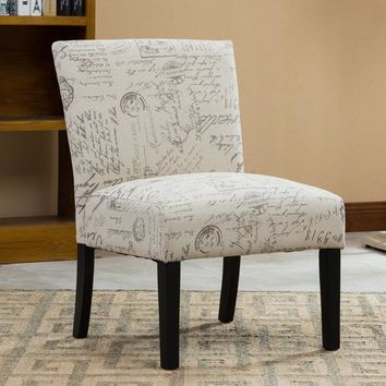 Botticelli English Letter Print Fabric Armless Contemporary Accent Chair - Free Shipping Today - Overstock.com - 17897696
