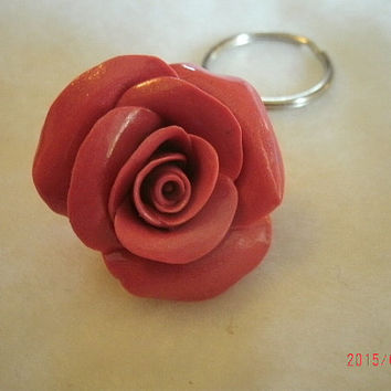 Pink rose purse charm. Handmade from polymer clay.