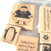 Polar Pals Retired Stampin Up Stam Set 2005 Eskimo Girl Penguin Fish Snowflake 6 piece