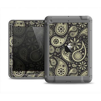 The Black & Vintage Green Paisley Apple iPad Mini LifeProof Fre Case Skin Set
