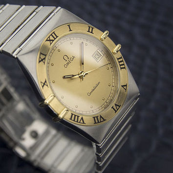Vintage 1990 Men's OMEGA CONSTELLATION 18k Bezel Stainless Steel Collectible Timepiece Watch # 7005