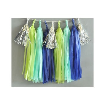 Paper Garland & Metallic Mini Tassels - 20 Tassel DIY Kit - Navy Mint Lime Green Silver Foil - Wedding Decor Party Bridal Shower Birthday