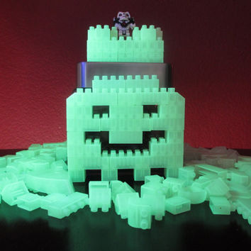 Lego/Loc Blocs? Halloween Party GHOST Glow In The Dark Centerpiece.Glass Candy Jar.LEGO Birthday Gift.Ghost.Dia de Los Muertos.Home Décor