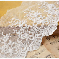 Beige Cotton Gauze Embroidered Lace Style for Fabric Designing