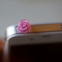 Kawaii SMALL ROSE in 4 COLORS Iphone Earphone by fingerfooddelight