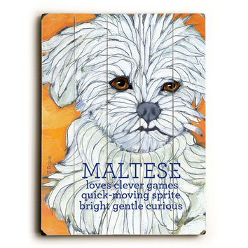 Maltese by Artist Ursula Dodge Wood Sign