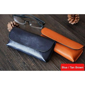 Custom Handmade Vegetable Tanned Italian Leather Sunglass Case Pouch