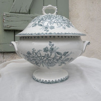 French vintage ironstone/earthenware tureen. antique transferware french antique tureen, serving antique dining french home decor