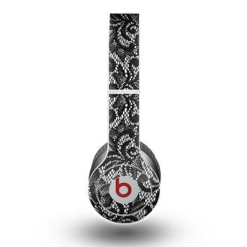The Black and White Lace Pattern Skin for the Beats by Dre Original Solo-Solo HD Headphones
