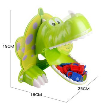 Green Dinosaur Toy Hunger Dino Toy Parents-Kids Interactive Family Bite Finger Game Exciting Funny