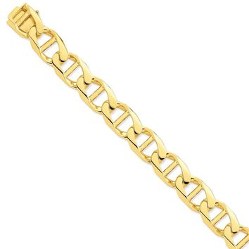 14k Yellow Gold 15.0mm Men Anchor Link Chain Bracelet - Fine Jewelry Gift