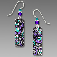 Adajio Earrings - White with Whimsical Lavender and Turquoise Circles