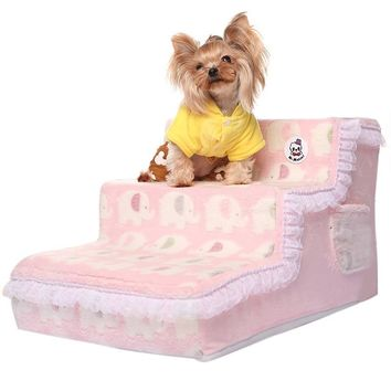 Elegant Princess Lace Dog Beds Stairs Dog Ramp Pet Stairs Soft Plush Cover Puppy Cat Ladder Comfortable Bed Stairs for Dogs