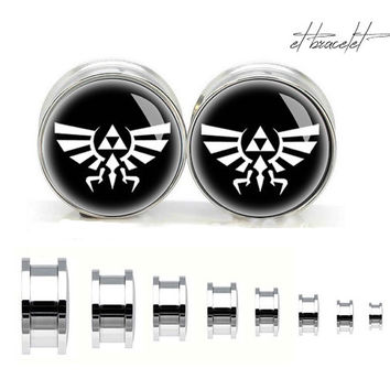 Legend of Zelda stainless steel ear gauge, silvery tunnel plugs,Stainless Steel Screw Ear Gauges, Flesh Tunnels Plugs