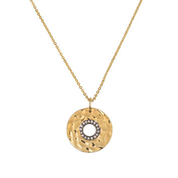 Open Circle Pendant with Diamonds