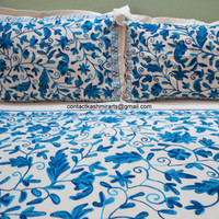 Bedding Blue/Bedspread/Embroidered Cotton Luxury wedding floral/CA King size/Queen/Duvet cover set/Twin/Single/Fitted/comforters