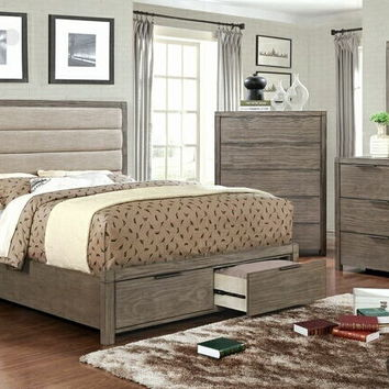 5 pc Ariella collection rustic gray finish wood with drawers in the footboard queen bedroom set