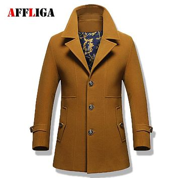 2017 Men's Fashion Winter Wool Blends Thicken Windbreaker Jackets Men Overcoat Male Slim Fit Trench Coat Long Coats for Men