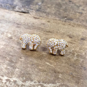 Gold Pave Elephant Earring