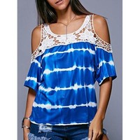 Stylish Cold Shoulder Tie Dye Crochet Women's Blouse