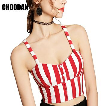 Bralette Crop Top Mujer Camisole Tank Summer 2018 Fashion Sexy Strappy Vest Striped/Black/White/Red Women Shirt Fitness Clothing