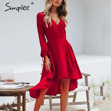 Simplee Vintage elegant women red dress V-neck lace up sexy summer dress High waist lantern sleeve party dress ladies dresses