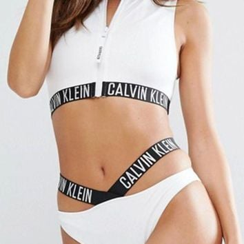 VONE055 Calvin Klein Fashion Zipper Hollow Bikini Set Swimsuit Swimwear Two-piece