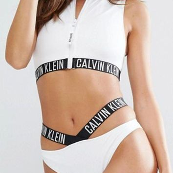 ONETOW Calvin Klein Fashion Zipper Hollow Bikini Set Swimsuit Swimwear Two-piece