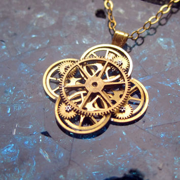 "Watch Gear Flower Necklace ""Aster"" Elegant Recycled Steampunk Gear Pendant Mechanical Plant Pendant Petal Clover Luck Gift Gershenson-Gates"
