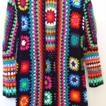 Gorgeous Granny Cardigan Crochet Afghan Cardigan Long Jacket Granny Square Jacket Knitwear Knit Coat Women Fashion Clothing MADE to ORDER