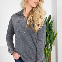 Charcoal Mineral Washed Pullover