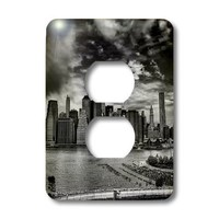 Roni Chastain NYC - NYC, black-white, east river, skyline - Light Switch Covers - 2 plug outlet cover (lsp_98356_6)