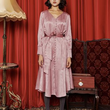 [OH.L] INVERTED PLEAT SLEEVE ROBE DRESS_INDIAN PINK