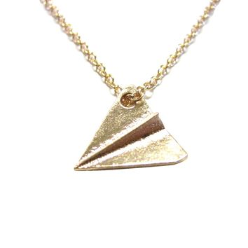 Gold Toned Paper Airplane Necklace
