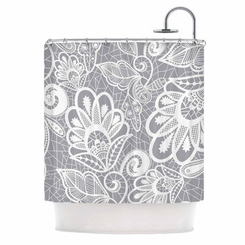"Petit Griffin ""Lace Flower"" Gray White Shower Curtain"