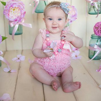 Little Girls Summer Clothes Baby Clothing Baby Rompers Infant girls Ruffle Lace Romper Vintage Baby Bow Jumpsuit  Outfit